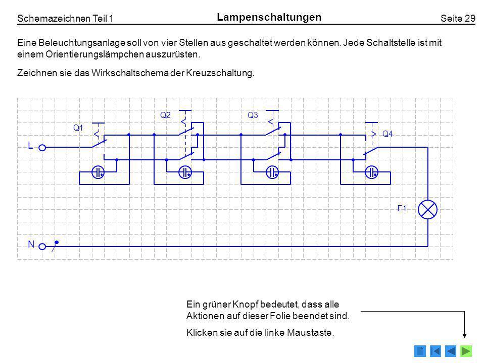 Schemazeichnen Teil 1 Seite 76 Messschaltungen Wirkenergiezähler 3L-N 3x400/230V mit Rundsteuer-Empfänger Bezügerleitung einblenden 25 II 10 II Tag- Nacht- Schalter 0 1 2 4 3 5 10 II 16 II C 13A 6mm 2 1,5mm 2 2,5mm 2 1,5mm 2 L1L1 L2L2 L3L3 NPE Doppeltarif-Zähler Rundsteuer- empfänger FI I N =16A I  N =30mA FS Bezüger- Überstromunter- brecher Steuer- Überstrom- unterbrecher (plombierbar) Boiler Kochherd LichtLicht (Bad) Legende Steuerleiter 0 1 2 3 4 5 Steuerneutralleiter Boiler Nachtladung Boiler Tagladung Doppeltarif RE Endstromkreise einblendenSteuerstromkreis einblendenLegende ausfüllen zurück