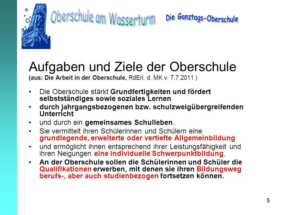 5 Aufgaben und Ziele der Oberschule (aus: Die Arbeit in der Oberschule, RdErl. d. MK v. 7.7.2011 ) Die Oberschule stärkt Grundfertigkeiten und fördert