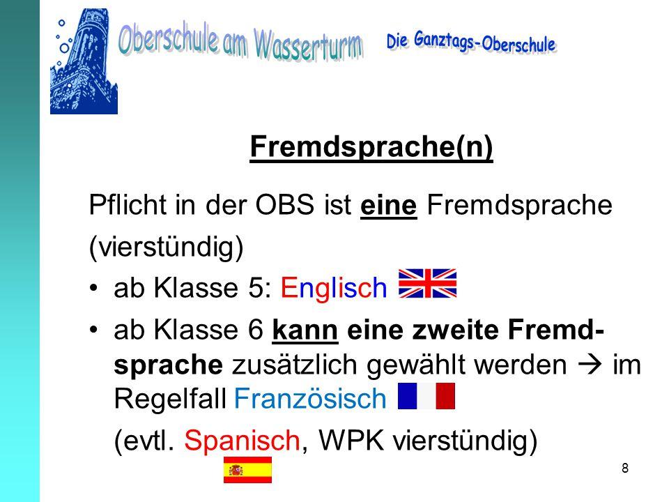 8 Fremdsprache(n) Pflicht in der OBS ist eine Fremdsprache (vierstündig) ab Klasse 5: Englisch ab Klasse 6 kann eine zweite Fremd- sprache zusätzlich