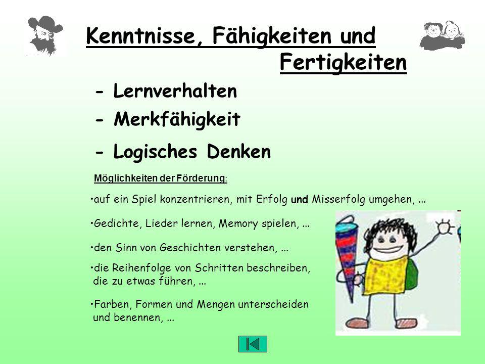 Kenntnisse, Fähigkeiten und Fertigkeiten Möglichkeiten der Förderung : - Lernverhalten - Merkfähigkeit auf ein Spiel konzentrieren, mit Erfolg und Mis