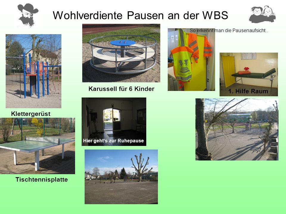 Wohlverdiente Pausen an der WBS So erkennt man die Pausenaufsicht.. 1. Hilfe Raum Hier geht's zur Ruhepause Tischtennisplatte Klettergerüst Karussell