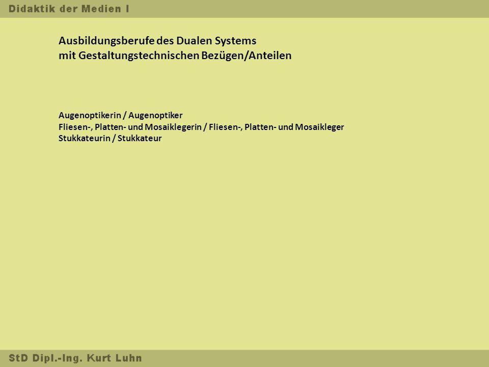 Ausbildungsberufe des Dualen Systems mit Gestaltungstechnischen Bezügen/Anteilen Augenoptikerin / Augenoptiker Fliesen-, Platten- und Mosaiklegerin / Fliesen-, Platten- und Mosaikleger Stukkateurin / Stukkateur