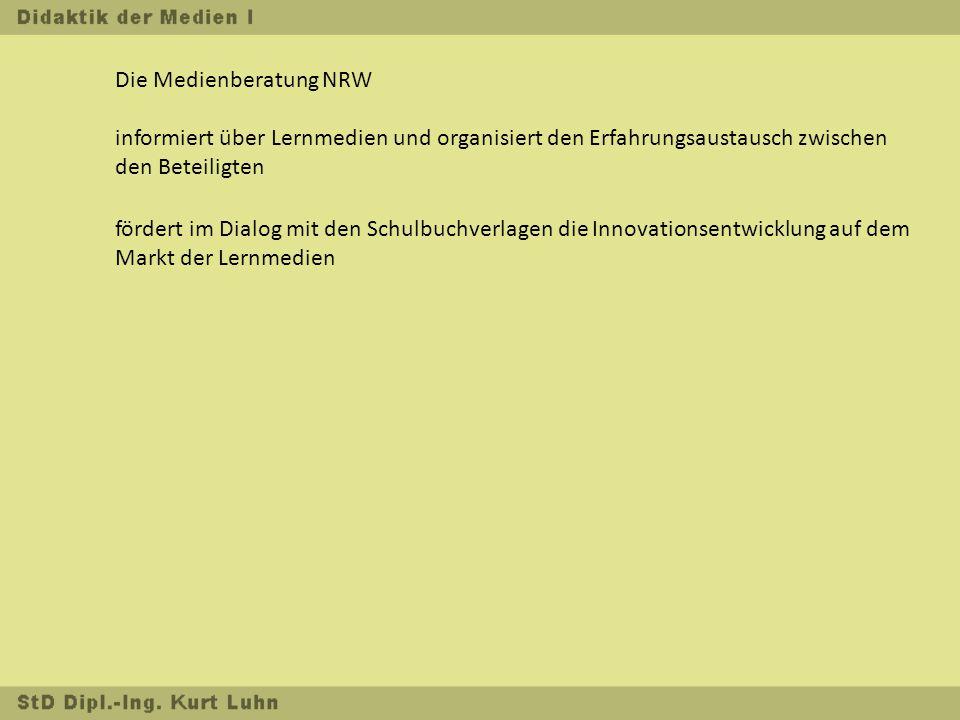 Die Medienberatung NRW informiert über Lernmedien und organisiert den Erfahrungsaustausch zwischen den Beteiligten fördert im Dialog mit den Schulbuchverlagen die Innovationsentwicklung auf dem Markt der Lernmedien