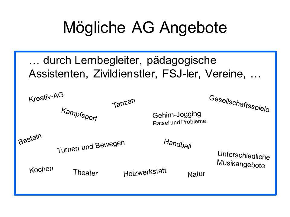 Mögliche AG Angebote … durch Lernbegleiter, pädagogische Assistenten, Zivildienstler, FSJ-ler, Vereine, … Kreativ-AG Tanzen Turnen und Bewegen Gehirn-