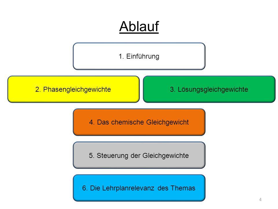 Ablauf 1.Einführung 4 2. Phasengleichgewichte3. Lösungsgleichgewichte 4.