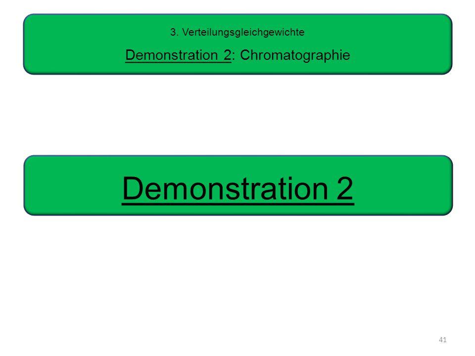41 3. Verteilungsgleichgewichte Demonstration 2: Chromatographie Demonstration 2