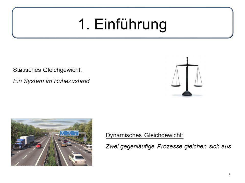 5 1. Einführung Statisches Gleichgewicht: Ein System im Ruhezustand Dynamisches Gleichgewicht: Zwei gegenläufige Prozesse gleichen sich aus