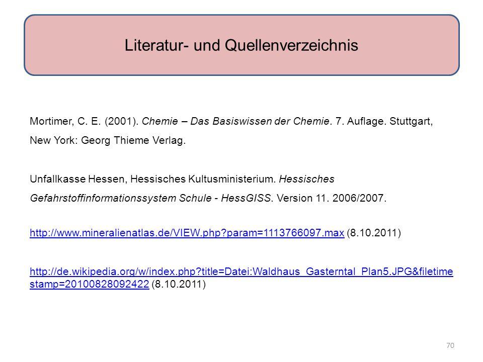 Mortimer, C.E. (2001). Chemie – Das Basiswissen der Chemie.