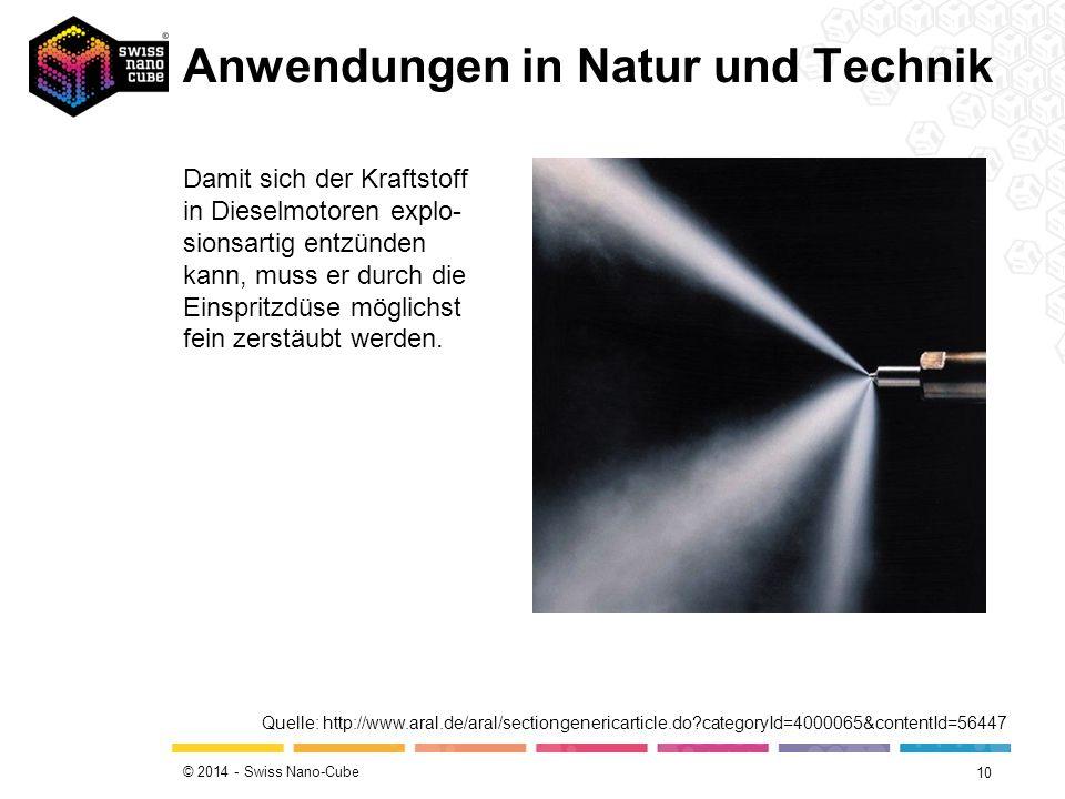 © 2014 - Swiss Nano-Cube 10 Damit sich der Kraftstoff in Dieselmotoren explo- sionsartig entzünden kann, muss er durch die Einspritzdüse möglichst fei