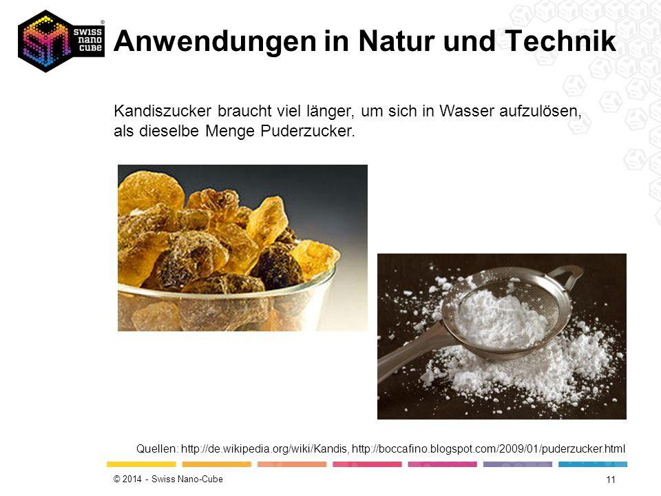 © 2014 - Swiss Nano-Cube 11 Kandiszucker braucht viel länger, um sich in Wasser aufzulösen, als dieselbe Menge Puderzucker. Quellen: http://de.wikiped