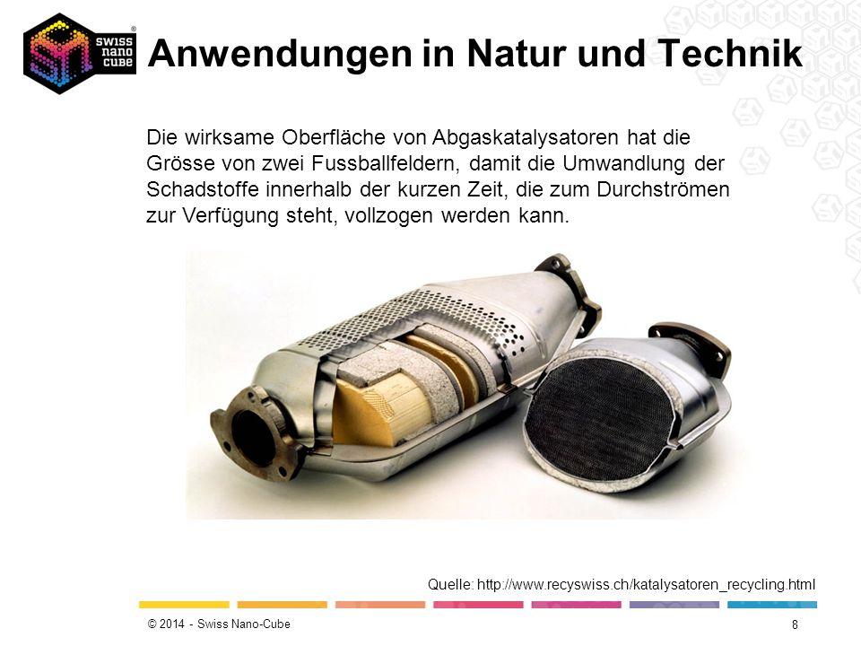 © 2014 - Swiss Nano-Cube Anwendungen in Natur und Technik 8 Die wirksame Oberfläche von Abgaskatalysatoren hat die Grösse von zwei Fussballfeldern, da