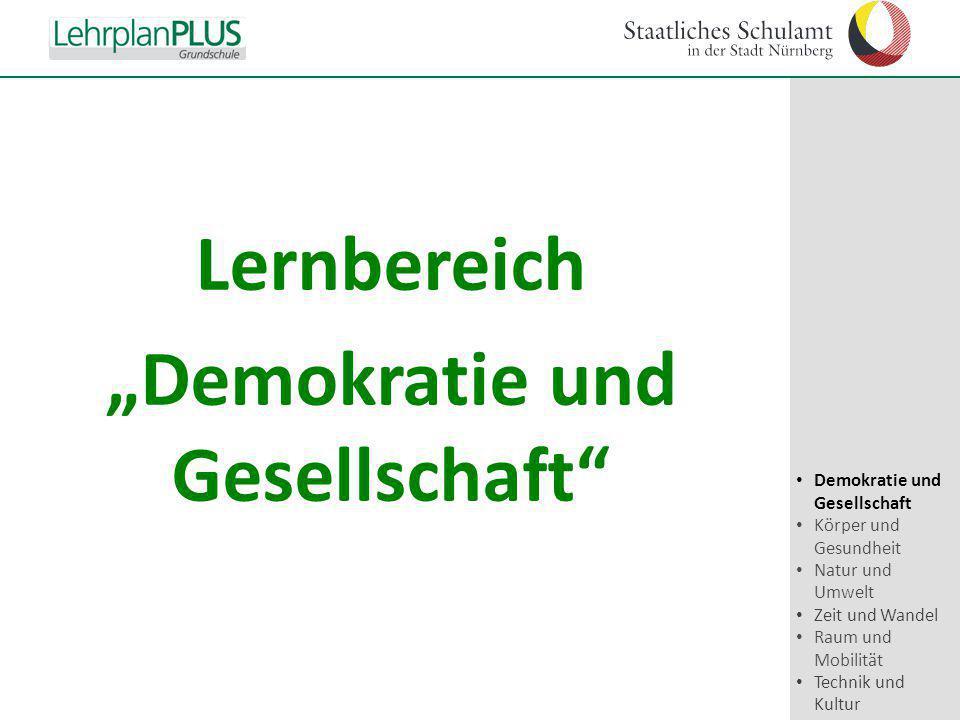 """^ Lernbereich """"Demokratie und Gesellschaft"""" Demokratie und Gesellschaft Körper und Gesundheit Natur und Umwelt Zeit und Wandel Raum und Mobilität Tech"""