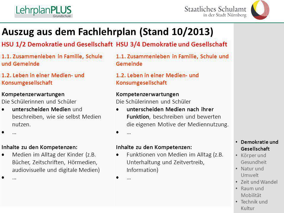 ^ HSU 1/2 Demokratie und Gesellschaft 1.1. Zusammenleben in Familie, Schule und Gemeinde 1.2. Leben in einer Medien- und Konsumgesellschaft Kompetenze