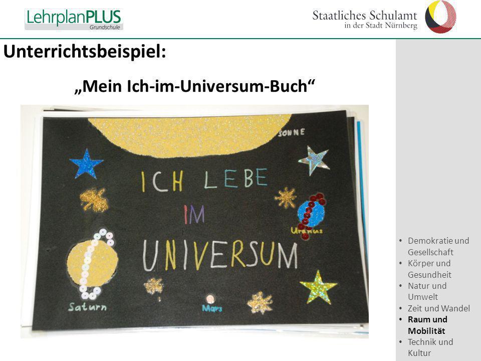 """^ Unterrichtsbeispiel: """"Mein Ich-im-Universum-Buch"""" Demokratie und Gesellschaft Körper und Gesundheit Natur und Umwelt Zeit und Wandel Raum und Mobili"""