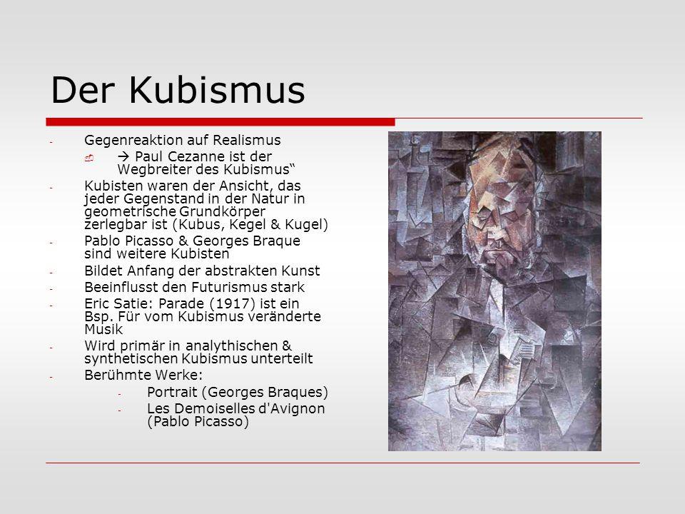 """Der Kubismus - Gegenreaktion auf Realismus   Paul Cezanne ist der Wegbreiter des Kubismus"""" - Kubisten waren der Ansicht, das jeder Gegenstand in der"""