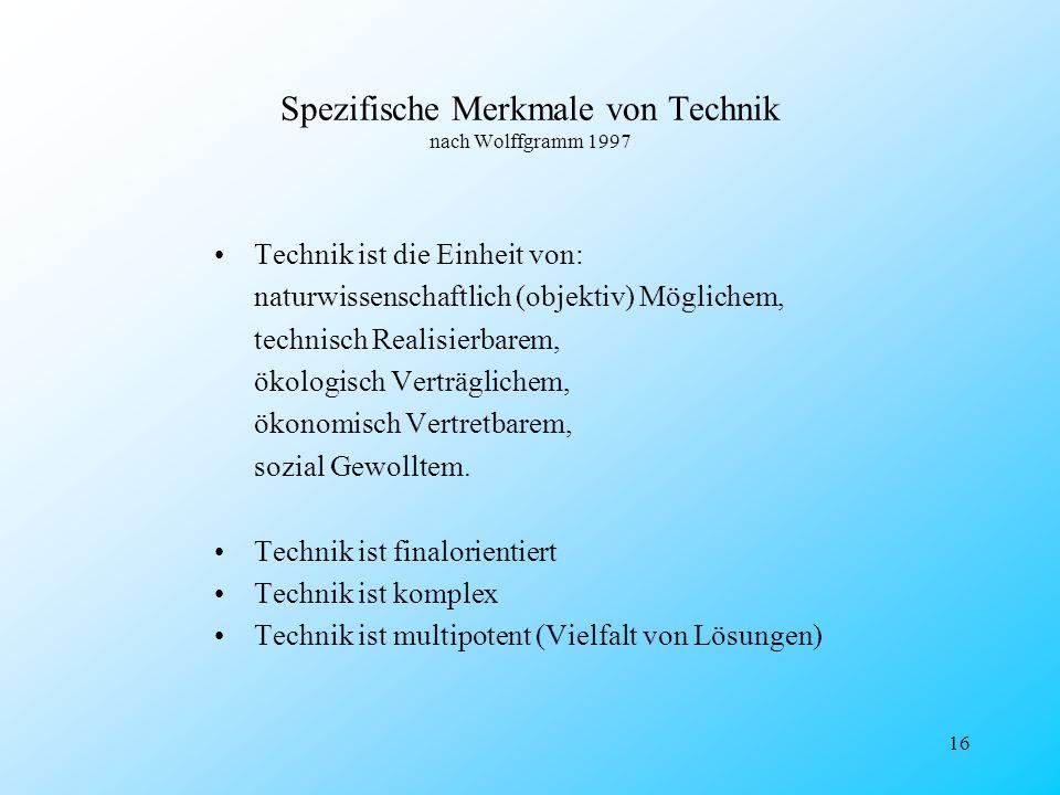 16 Spezifische Merkmale von Technik nach Wolffgramm 1997 Technik ist die Einheit von: naturwissenschaftlich (objektiv) Möglichem, technisch Realisierb