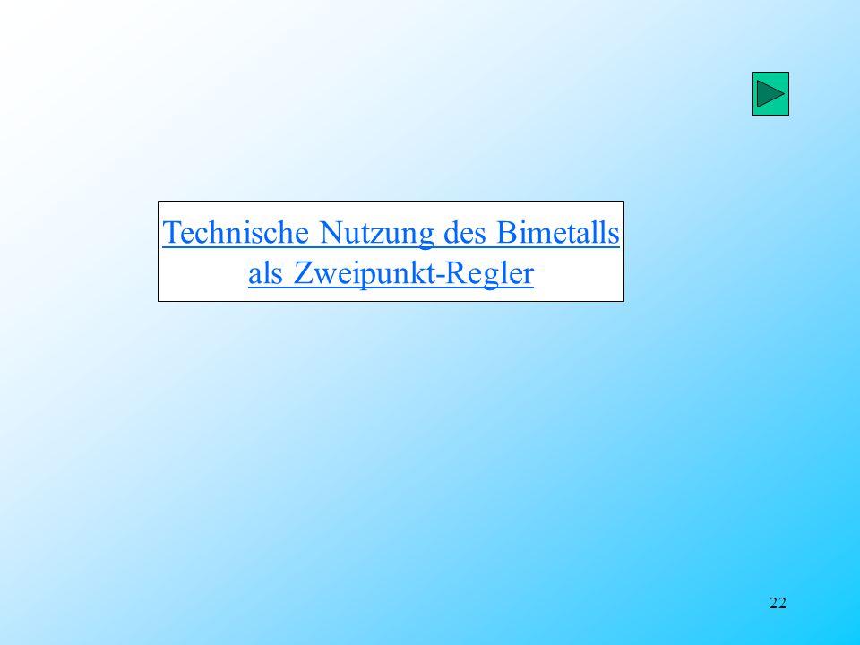 22 Technische Nutzung des Bimetalls als Zweipunkt-Regler