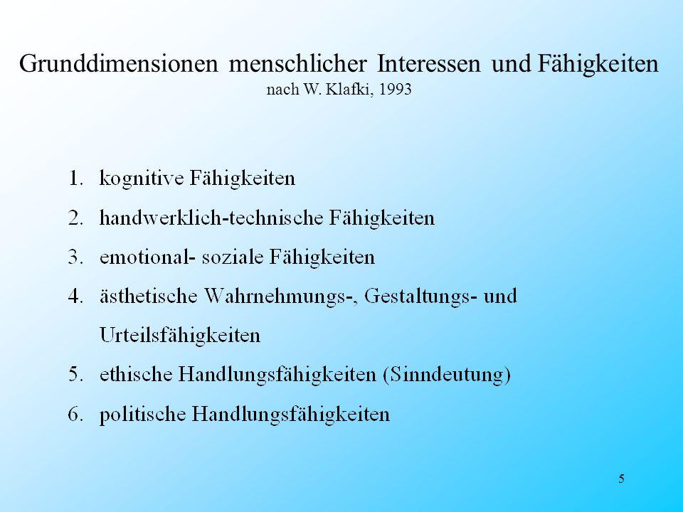 5 Grunddimensionen menschlicher Interessen und Fähigkeiten nach W. Klafki, 1993