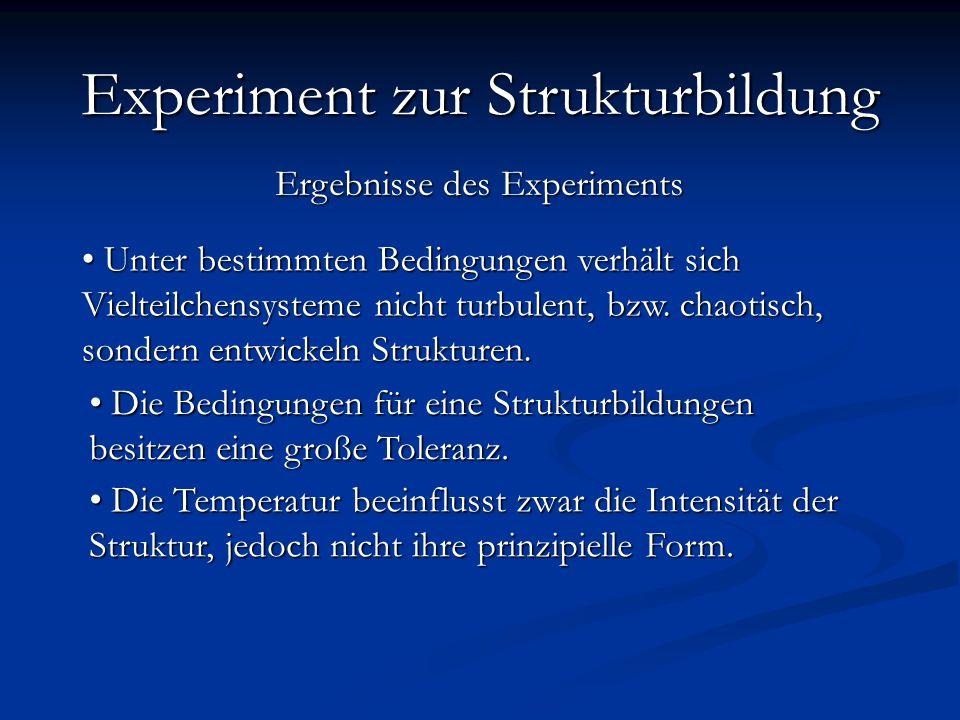 Ergebnisse des Experiments Experiment zur Strukturbildung Resumé Unter bestimmten Bedingungen verhält sich Vielteilchensysteme nicht turbulent, bzw.