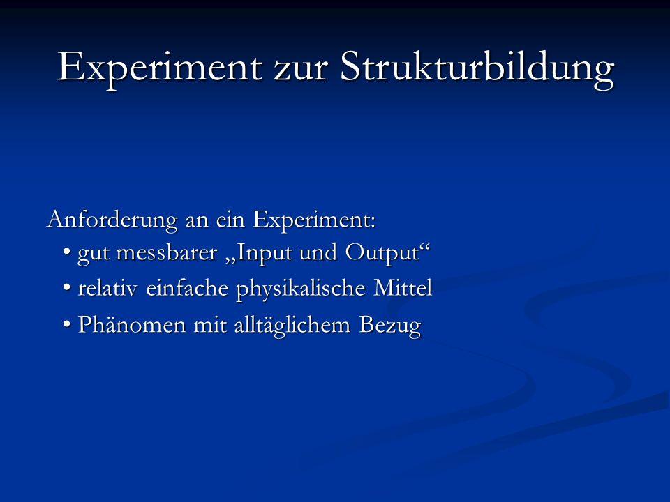 """Anforderung an ein Experiment: relativ einfache physikalische Mittel relativ einfache physikalische Mittel gut messbarer """"Input und Output gut messbarer """"Input und Output Phänomen mit alltäglichem Bezug Phänomen mit alltäglichem Bezug Experiment Experiment zur Strukturbildung"""