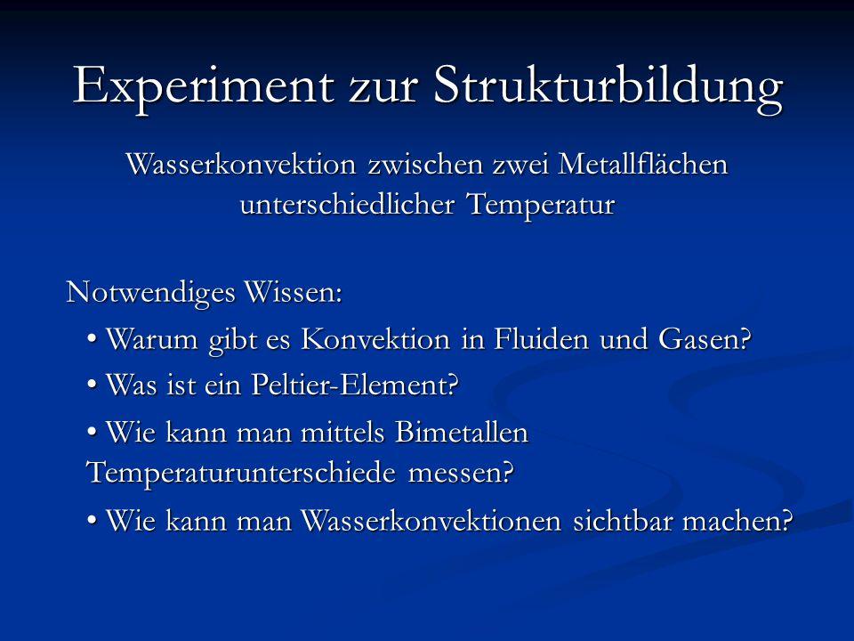 Wasserkonvektion zwischen zwei Metallflächen unterschiedlicher Temperatur Experiment zur Strukturbildung Know-How Notwendiges Wissen: Warum gibt es Konvektion in Fluiden und Gasen.