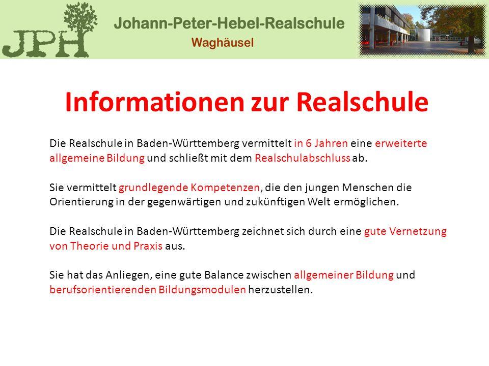 Informationen zur Realschule Die Realschule in Baden-Württemberg vermittelt in 6 Jahren eine erweiterte allgemeine Bildung und schließt mit dem Realsc