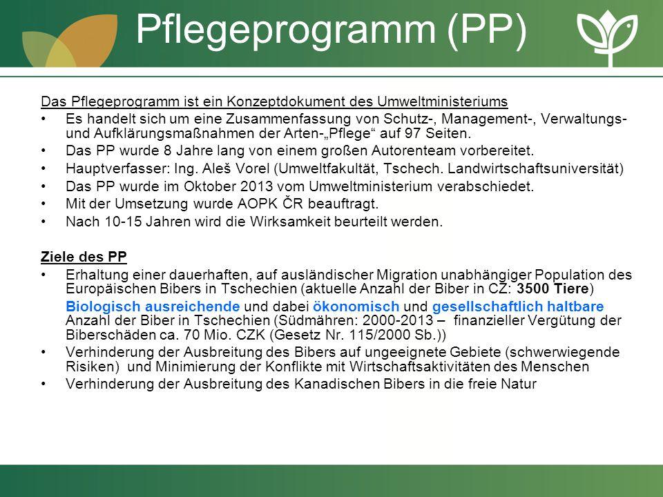 Pflegeprogramm (PP) Das Pflegeprogramm ist ein Konzeptdokument des Umweltministeriums Es handelt sich um eine Zusammenfassung von Schutz-, Management-