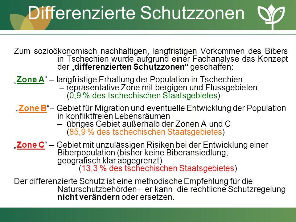 Differenzierte Schutzzonen Zum sozioökonomisch nachhaltigen, langfristigen Vorkommen des Bibers in Tschechien wurde aufgrund einer Fachanalyse das Kon
