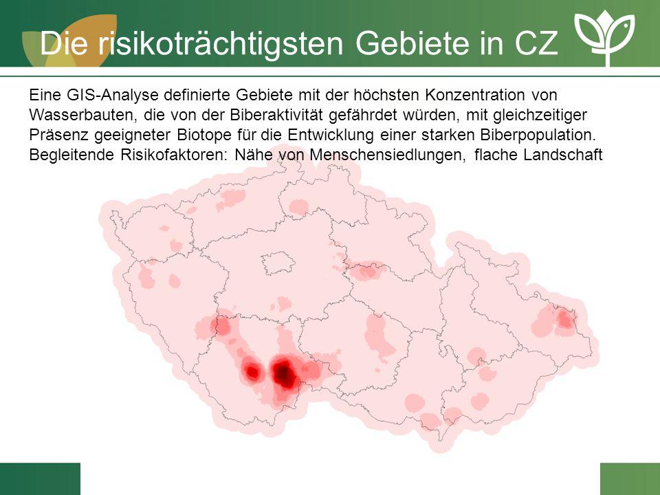 Die risikoträchtigsten Gebiete in CZ Eine GIS-Analyse definierte Gebiete mit der höchsten Konzentration von Wasserbauten, die von der Biberaktivität g