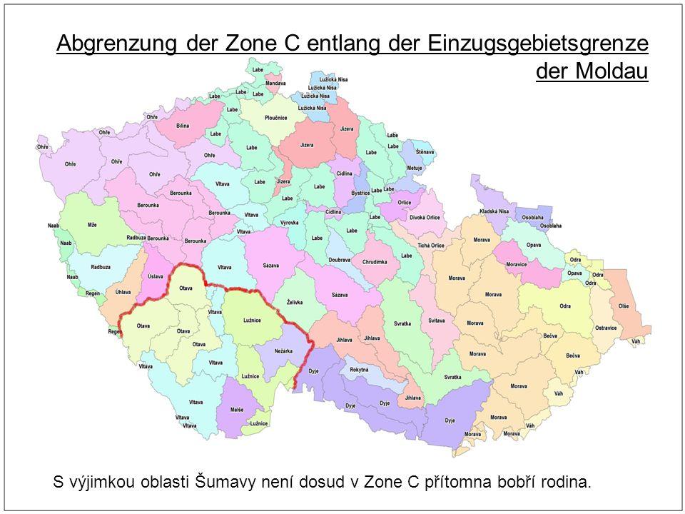 Abgrenzung der Zone C entlang der Einzugsgebietsgrenze der Moldau S výjimkou oblasti Šumavy není dosud v Zone C přítomna bobří rodina.