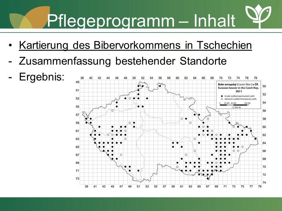 Pflegeprogramm – Inhalt Kartierung des Bibervorkommens in Tschechien -Zusammenfassung bestehender Standorte -Ergebnis: