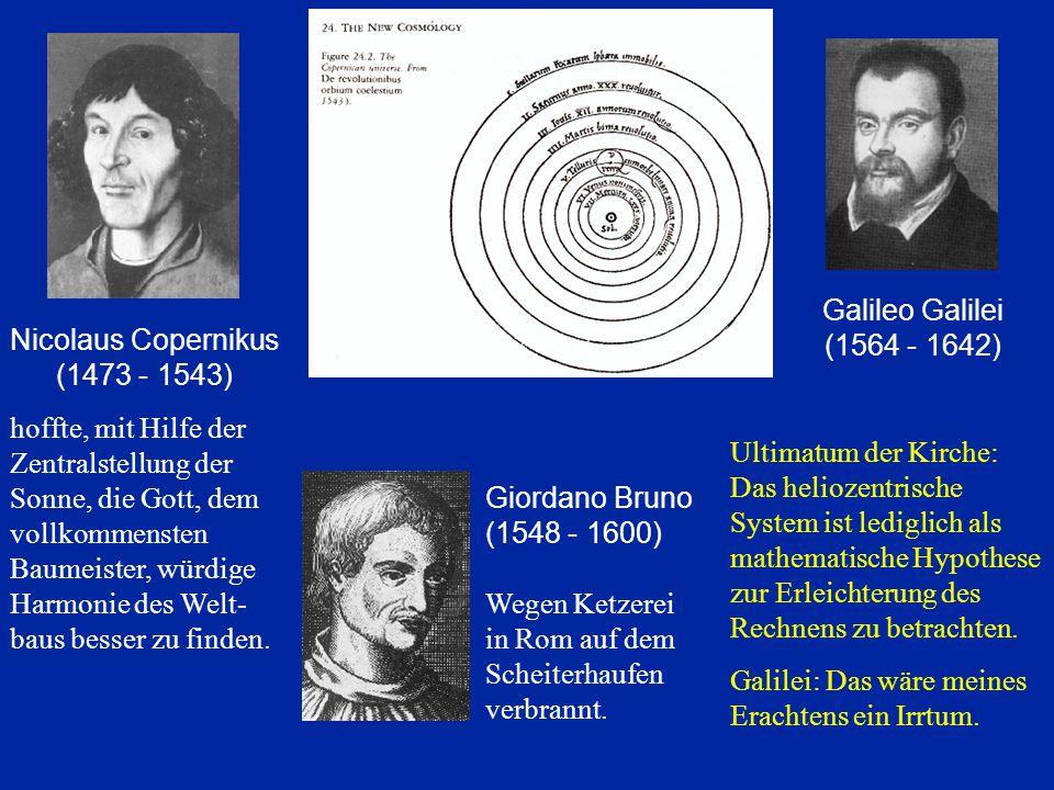 Galileo Galilei (1564 - 1642) Ultimatum der Kirche: Das heliozentrische System ist lediglich als mathematische Hypothese zur Erleichterung des Rechnen