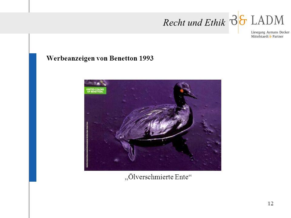 """Recht und Ethik Werbeanzeigen von Benetton 1993 """"Ölverschmierte Ente"""" 12"""