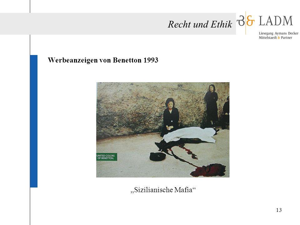 """Recht und Ethik Werbeanzeigen von Benetton 1993 """"Sizilianische Mafia"""" 13"""
