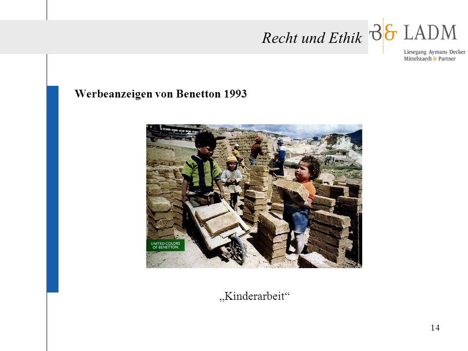 """Recht und Ethik Werbeanzeigen von Benetton 1993 """"Kinderarbeit"""" 14"""