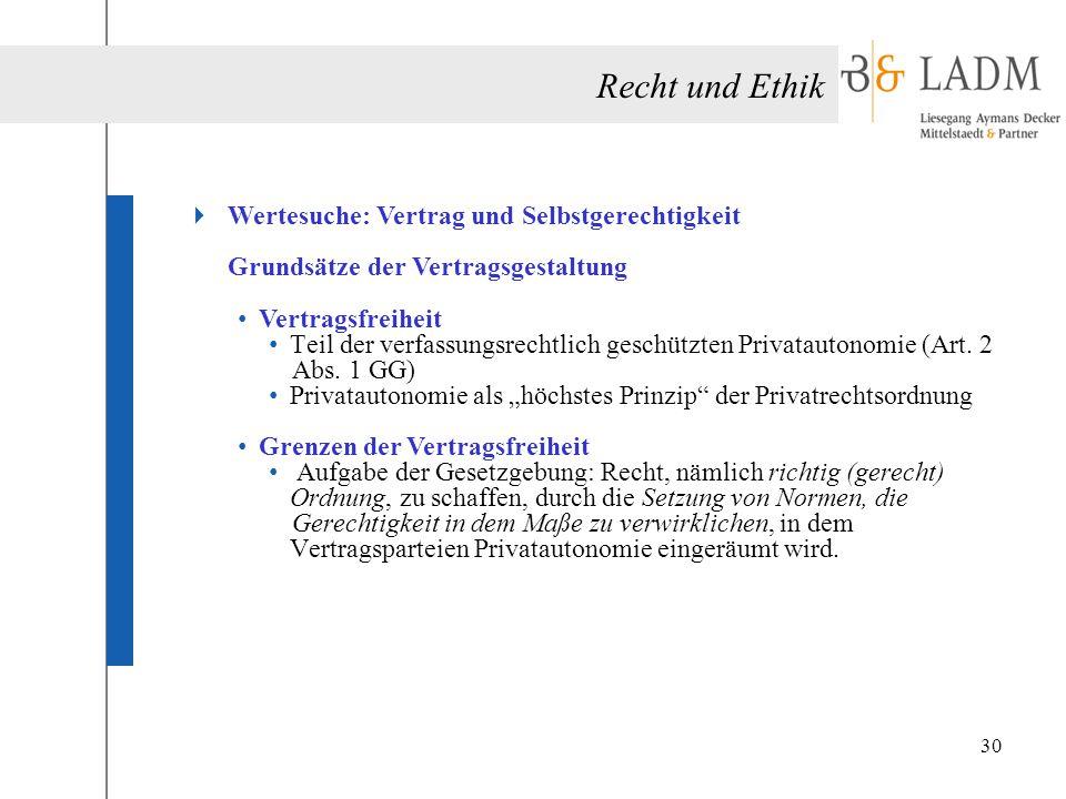 Recht und Ethik  Wertesuche: Vertrag und Selbstgerechtigkeit Grundsätze der Vertragsgestaltung Vertragsfreiheit Teil der verfassungsrechtlich geschüt