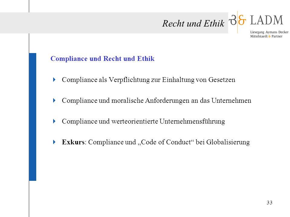 Recht und Ethik Compliance und Recht und Ethik  Compliance als Verpflichtung zur Einhaltung von Gesetzen  Compliance und moralische Anforderungen an