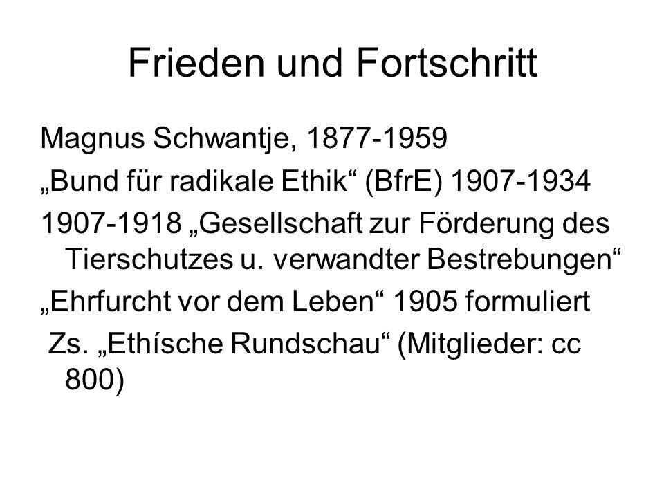 """Frieden und Fortschritt Magnus Schwantje, 1877-1959 """"Bund für radikale Ethik"""" (BfrE) 1907-1934 1907-1918 """"Gesellschaft zur Förderung des Tierschutzes"""