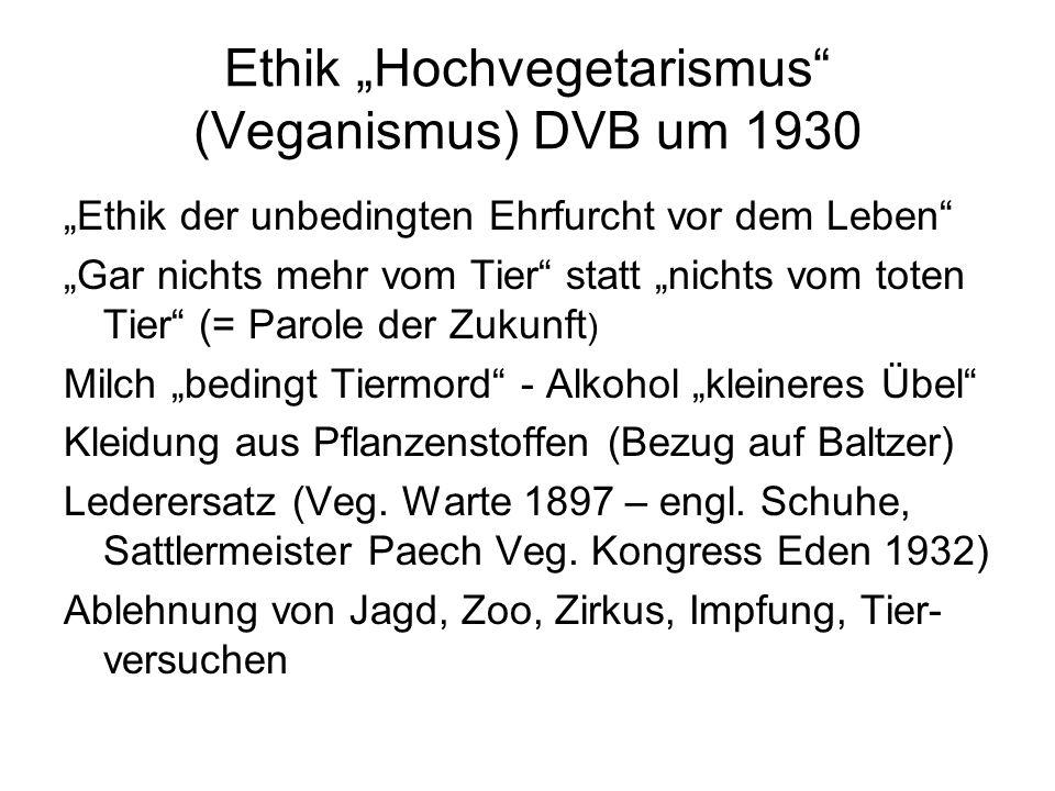 """Ethik """"Hochvegetarismus"""" (Veganismus) DVB um 1930 """"Ethik der unbedingten Ehrfurcht vor dem Leben"""" """"Gar nichts mehr vom Tier"""" statt """"nichts vom toten T"""