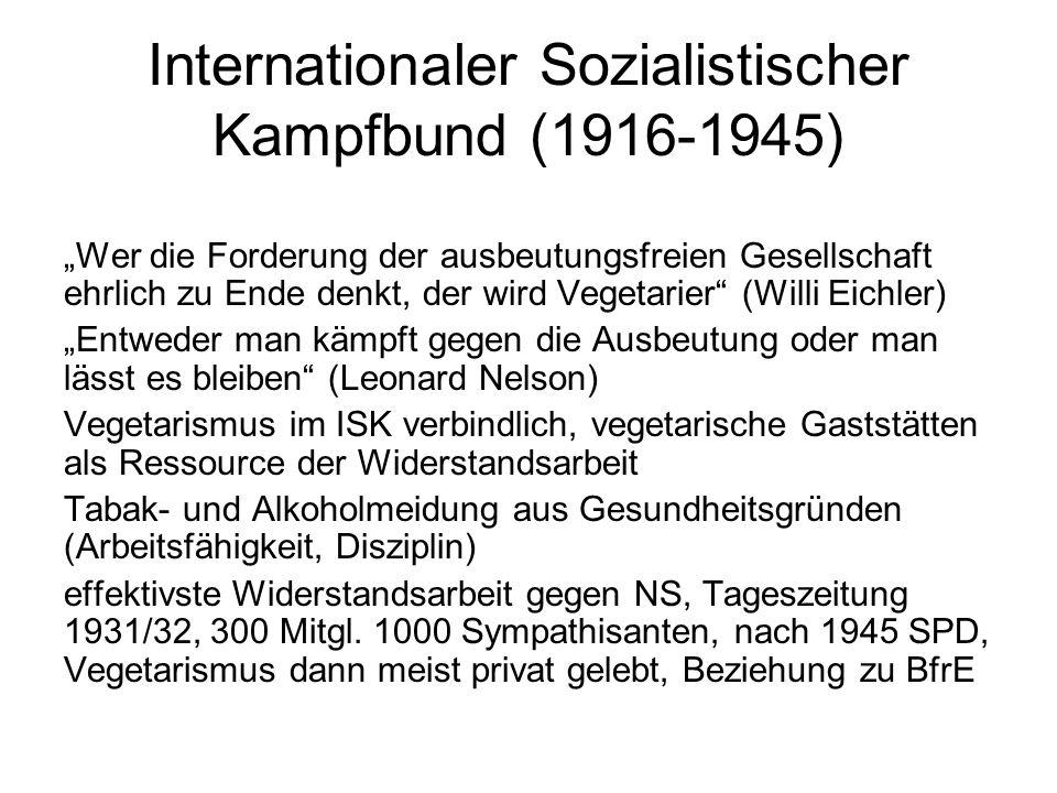 """Internationaler Sozialistischer Kampfbund (1916-1945) """"Wer die Forderung der ausbeutungsfreien Gesellschaft ehrlich zu Ende denkt, der wird Vegetarier"""