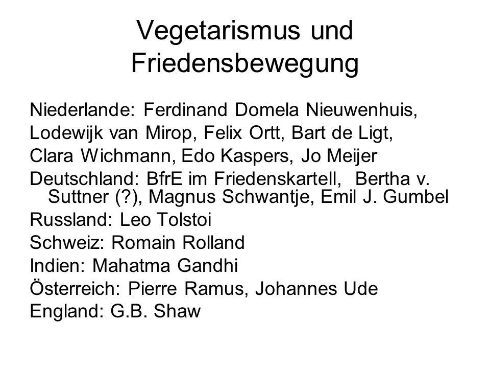 Vegetarismus und Friedensbewegung Niederlande: Ferdinand Domela Nieuwenhuis, Lodewijk van Mirop, Felix Ortt, Bart de Ligt, Clara Wichmann, Edo Kaspers