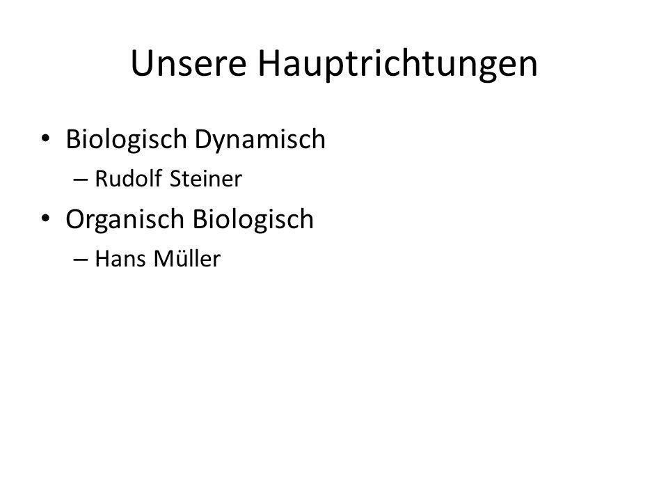 Unsere Hauptrichtungen Biologisch Dynamisch – Rudolf Steiner Organisch Biologisch – Hans Müller