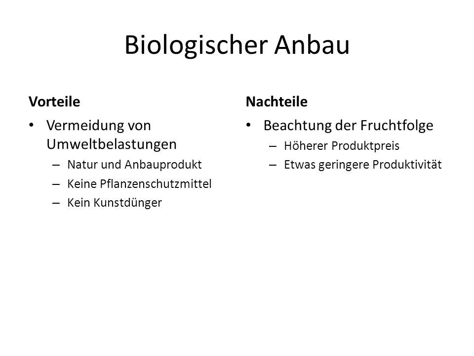 Biologischer Anbau Vorteile Vermeidung von Umweltbelastungen – Natur und Anbauprodukt – Keine Pflanzenschutzmittel – Kein Kunstdünger Nachteile Beacht