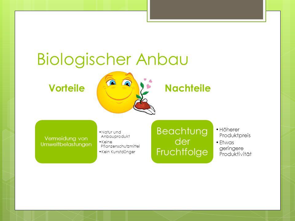 Biologischer Anbau Vorteile Vermeidung von Umweltbelastungen Natur und Anbauprodukt Keine Pflanzenschutzmittel Kein Kunstdünger Nachteile Beachtung de