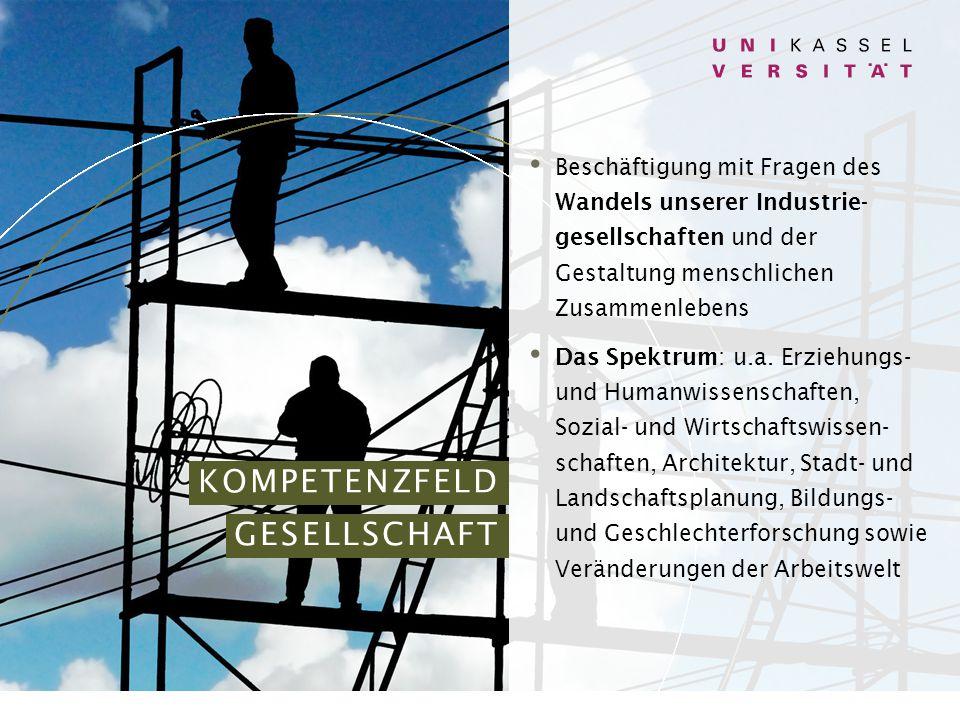 KOMPETENZFELD GESELLSCHAFT Beschäftigung mit Fragen des Wandels unserer Industrie- gesellschaften und der Gestaltung menschlichen Zusammenlebens Das Spektrum: u.a.