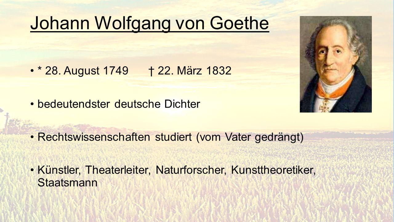 Vertreter des Sturm und Drang wichtiger Vertreter der Weimarer Klassik Bekannteste Werke: - Die Leiden des jungen Werther - Faust - Der Zauberlehrling