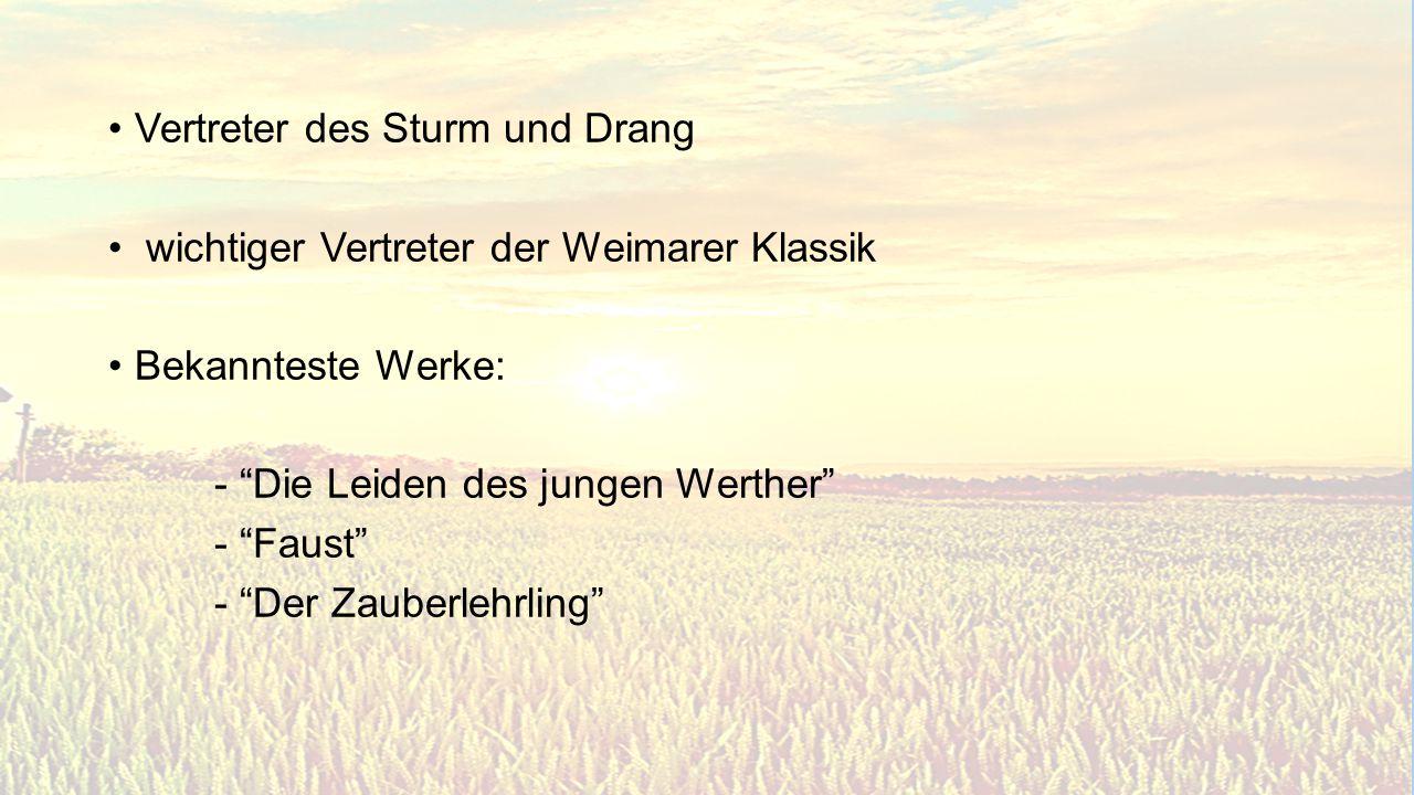 Sturm und Drang 1740 – 1785 Motive/SchlüsselwörterGattungen Herz, Gefühl, Idylle, Natur, Seele, Rebell, Empfindungen..