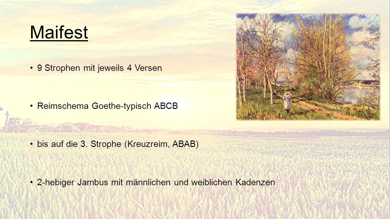Quellen Deutsch.kompetent http://lyrik.antikoerperchen.de/johann-wolfgang-von-goethe- maifest,textbearbeitung,178.html http://lyrik.antikoerperchen.de/johann-wolfgang-von-goethe- maifest,textbearbeitung,89.html http://www.onlinekunst.de/goethe/goethe.jpg http://www.literaturwelt.com/werke/goethe/maifest.html