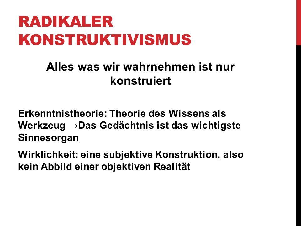 RADIKALER KONSTRUKTIVISMUS Alles was wir wahrnehmen ist nur konstruiert Erkenntnistheorie: Theorie des Wissens als Werkzeug →Das Gedächtnis ist das wi
