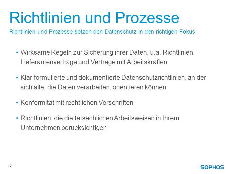 Richtlinien und Prozesse Wirksame Regeln zur Sicherung ihrer Daten, u.a.